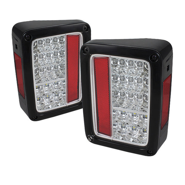 2007-2016 Jeep Wrangler LED Tail Lights - Chrome