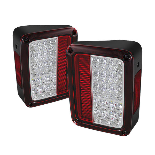 2007-2016 Jeep Wrangler LED Tail Lights - Red Clear