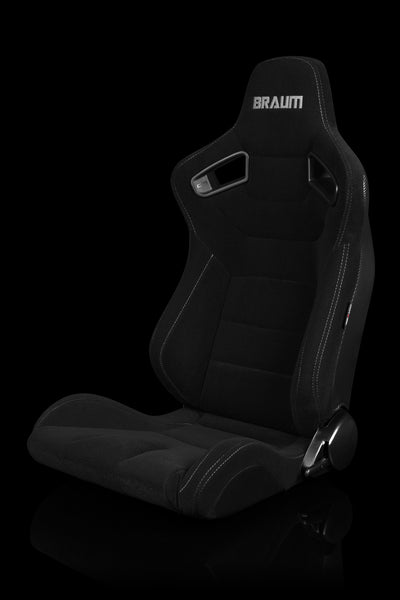 Braum Elite Series Racing Seats (Black Cloth/Grey Stitching/Faux Carbon Fiber) – PAIR