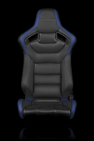 Braum Elite Series Racing Seats (Black-Blue Leatherette/Faux Carbon Fiber) – PAIR
