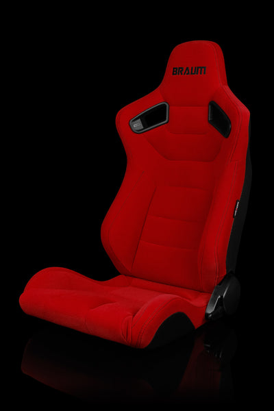 Braum Elite Series Racing Seats (Red Cloth/Black Stitching/Faux Carbon Fiber) – PAIR
