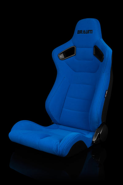 Braum Elite Series Racing Seats (Blue Cloth/Black Stitching/Faux Carbon Fiber) – PAIR