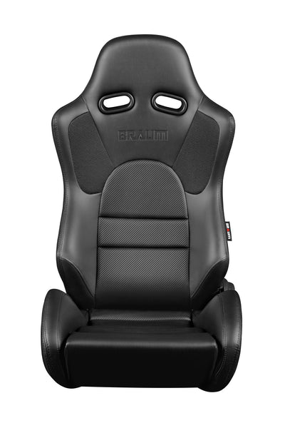 Braum Advan Series Racing Seats (Black Leatherette/Faux Carbon Fiber Fabric) Black Stitching – PAIR