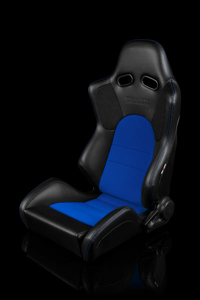 Braum Advan Series Racing Seats (Black Leatherette/Blue Insert Fabric) Blue Stitching – PAIR