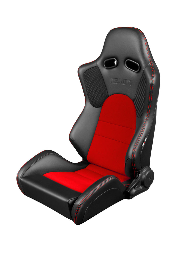 Braum Advan Series Racing Seats (Black Leatherette/Red Insert Fabric) Red Stitching – PAIR