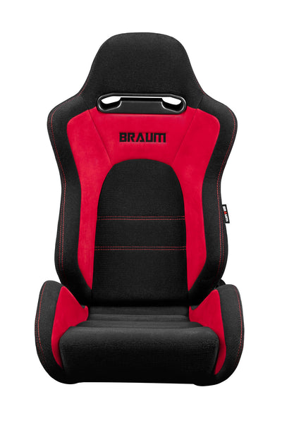Braum Venom Series Racing Seats (Black Leatherette/Faux Carbon Fiber) Black Stitching – PAIR