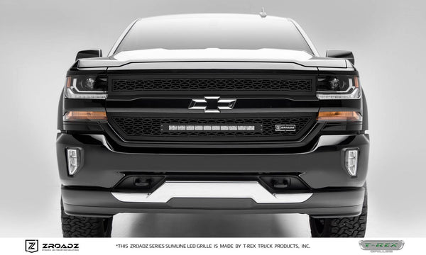 T-Rex ZROADZ Series 2016-2017 Chevrolet Silverado 1500 LED Lighted Grille w/ One 20 Inch Slim single row 2pc Grille (Black)