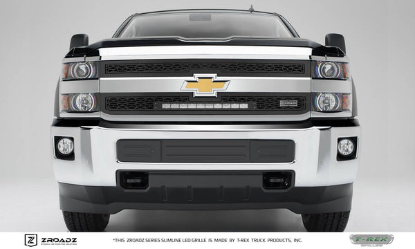 T-Rex ZROADZ Series 2015-2016 Chevrolet Silverado 2500/3500 HD LED Lighted Grille w/ One 20 Inch Slim single row 2pc Grille (Black)