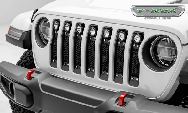 "T-Rex Torch Series 2018-up Jeep Wrangler JL Black Powdercoat Insert with Chrome Studs and (7) 2"" LED Lights"