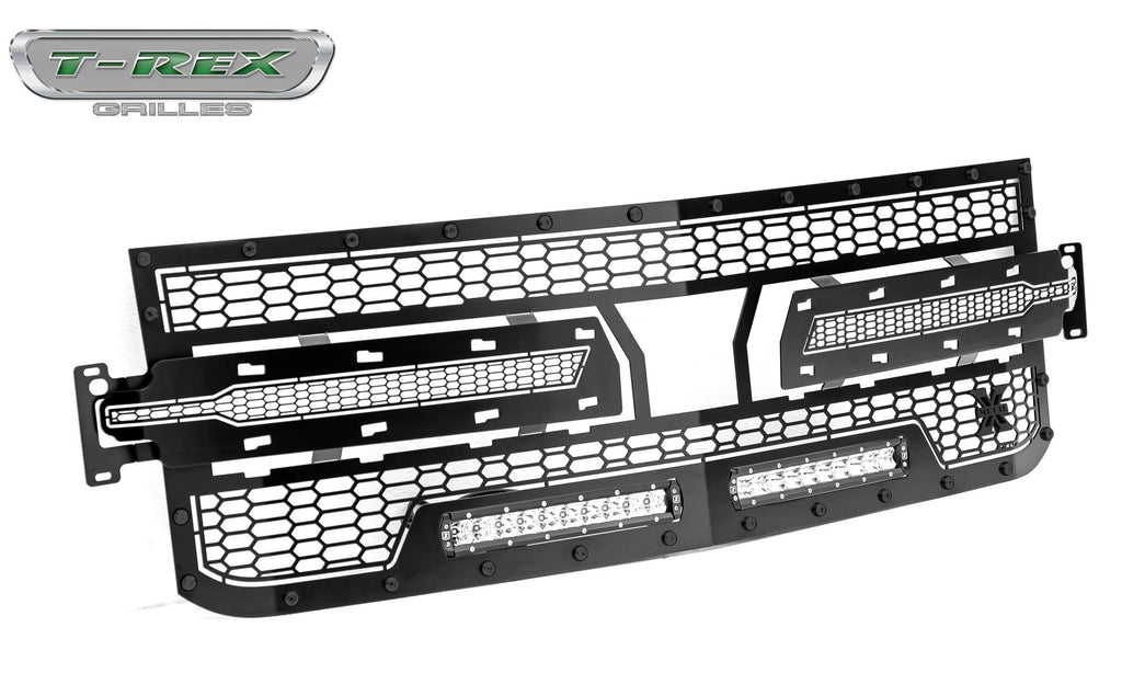 T-Rex 2019 Chevrolet Silverado 1500 Stealth Laser Torch Grille, 1 Pc, Replacement (Black Mild Steel)