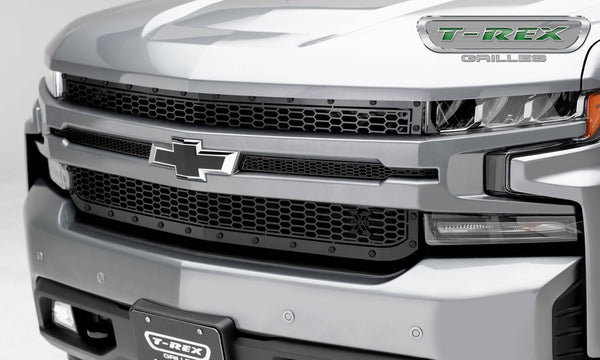 T-Rex 2019 Chevrolet Silverado 1500 Stealth Laser X Grille, 1 Pc, Replacement (Black Mild Steel)