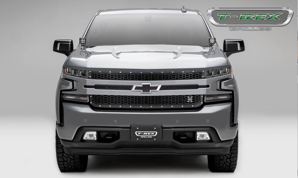T-Rex 2019 Chevrolet Silverado 1500 Laser X Grille, 1 Pc, Replacement (Black Mild Steel)