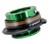 NRG Gen 2.9 Green/Black Ring & 3 Chrome Gold Stripes Steering Wheel Quick Release
