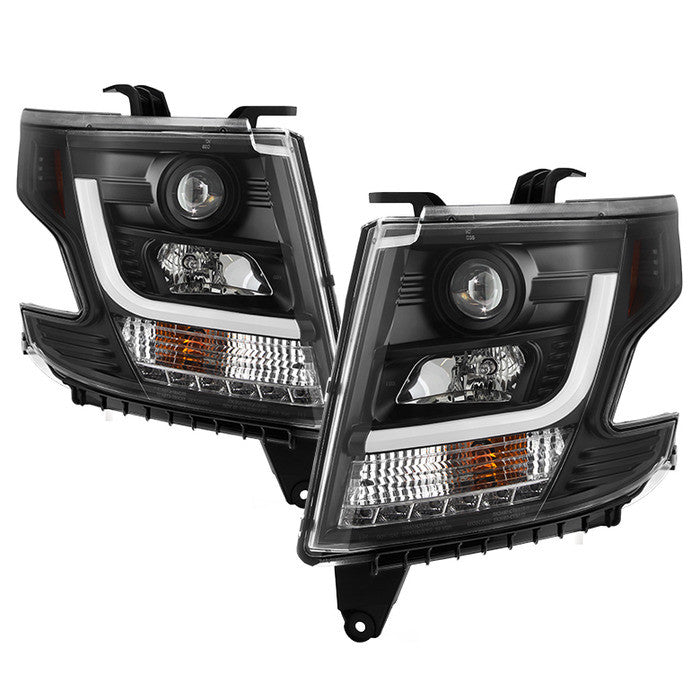 2015 -2016 Chevy Tahoe / Suburban Projector Headlights - DRL LED - Black