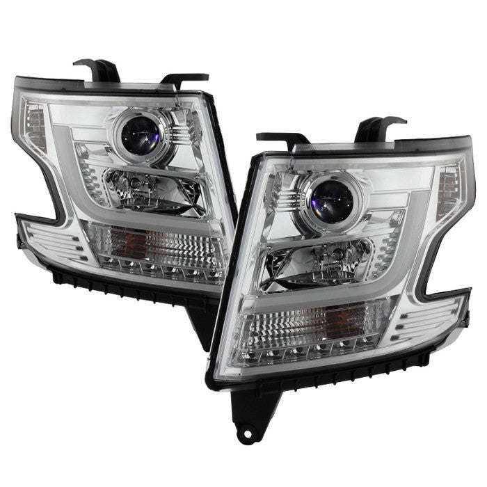 2015 -2016 Chevy Tahoe / Suburban Projector Headlights - DRL LED - Chrome