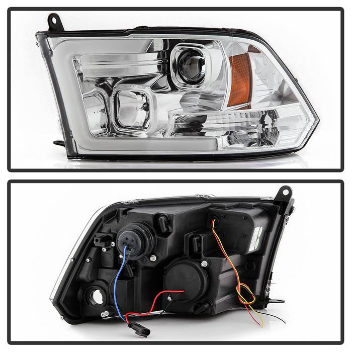 2009-2018 Dodge Ram 1500 / 2010-2019 Ram 2500/3500 Version 2 Projector Headlights - Halogen Model Only- Chrome Housing (Not Compatible With Factory Projector And LED DRL)
