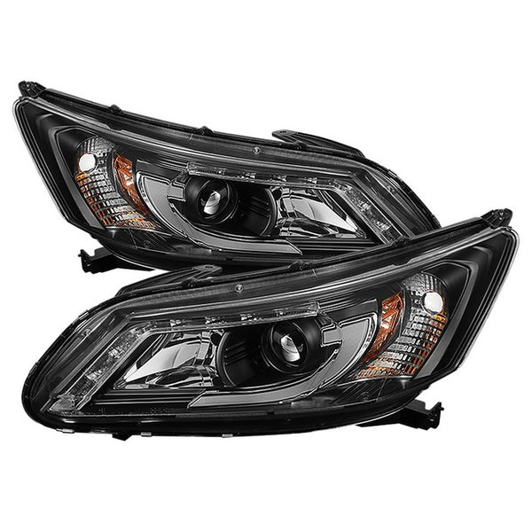 Projector Headlamps with DRL Light Bar 2013-2015 Honda Accord 4 Door (will not fit factory led headlight equipped vehicles) Black Housing