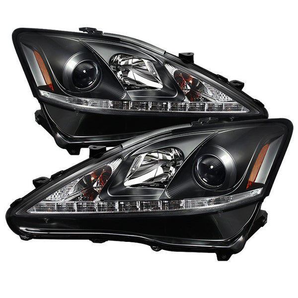 2006-2010 Lexus IS250/350 Projector Headlights - DRL LED - Black