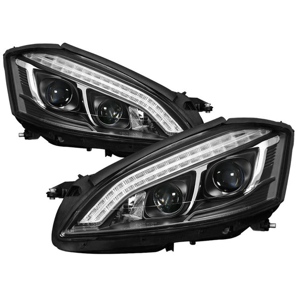 2007-2009 Mercedes S Class W221 Projector Headlights -DRL/LED - Black
