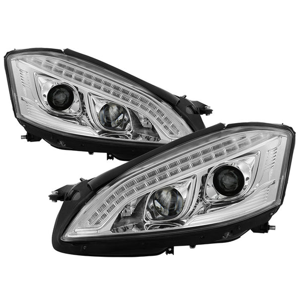 2007-2009 Mercedes S Class W221 Projector Headlights -DRL/LED - Chrome