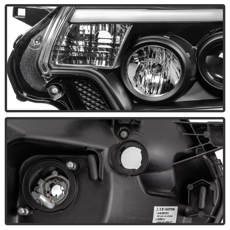 2012-15 Toyota Tacoma Projector Headlights - Light Bar DRL - Black