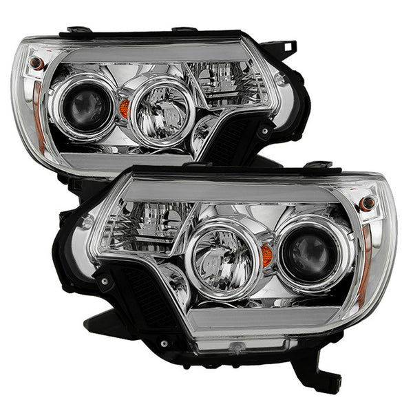 2012-15 Toyota Tacoma Projector Headlights - Light Bar DRL - Chrome