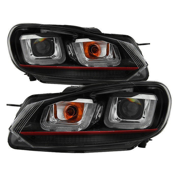 2010-13 Volkswagen Golf / GTI Version 3 Projector Headlights - Halogen Model Only ( Not Compatible With Xenon/HID Model ) - Dual U DRL - Black