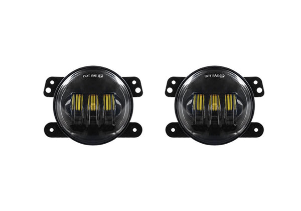 "Jeep JK/CJ/TJ  4"" 30 Watt Fog Light RGB Accent Quad Lock/Interlock Black Reflector Tempest Series"