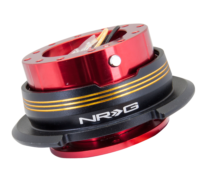 NRG Gen 2.9 Red/Black Ring & 3 Chrome Gold Stripes Steering Wheel Quick Release