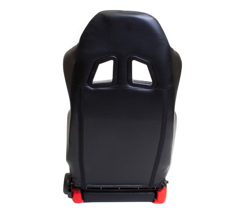 NRG PVC Sport Seat Black/Red Stitch & Side Contrast (Left & Right) - Pair