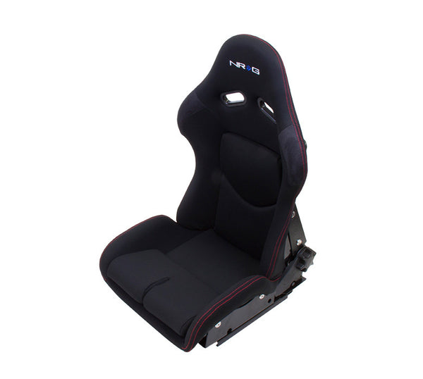 NRG Reclinable FRP Bucket Seat Black Cloth/Red Stitch (Large) - Each
