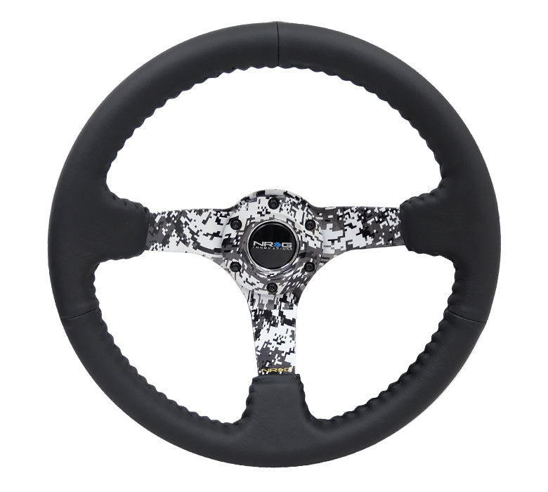 "NRG Deep Dish Series Steering Wheel (3"" Deep) Black Leather w/Hydrodipped Digi-Camo Spokes (350mm)"