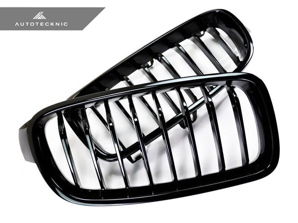 Autotecknic Replacement Glazing Black Front Kidney Grilles BMW F30 Sedan / F31 Wagon | 3 Series