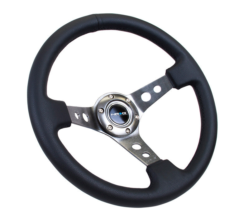 "NRG ST-006 Series Steering Wheel (3"" Deep) Black Leather, Gun Metal 3 Spoke (350mm)"
