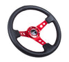 "NRG ST-006 Series Steering Wheel (3"" Deep) Black Leather, Red 3 Spoke (350mm)"
