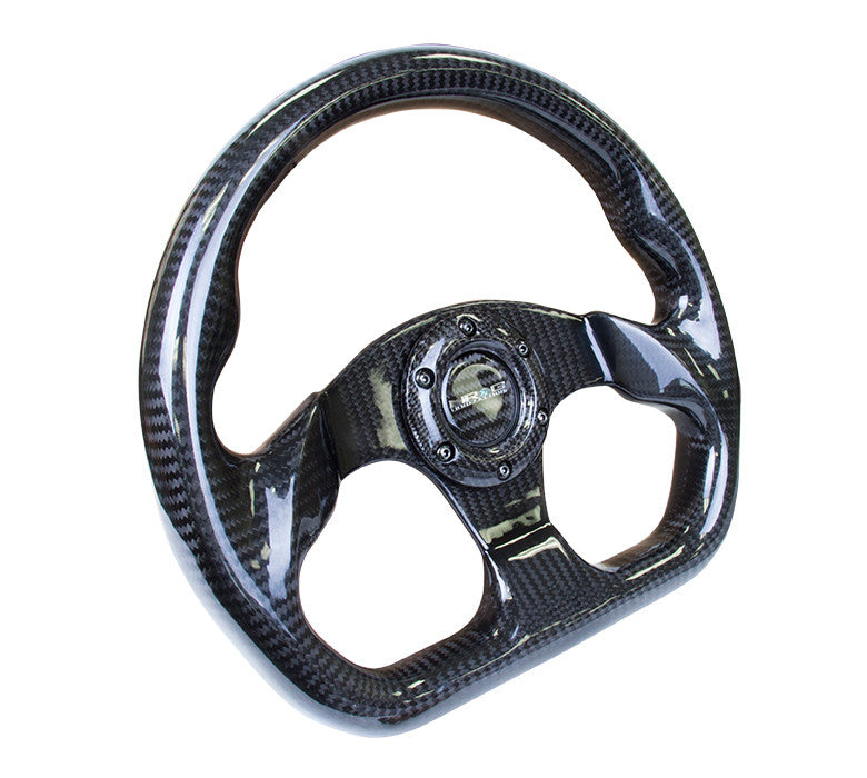 NRG Carbon Fiber Series Steering Wheel Carbon Fiber 3 Spoke Center (320mm) Flat Bottom