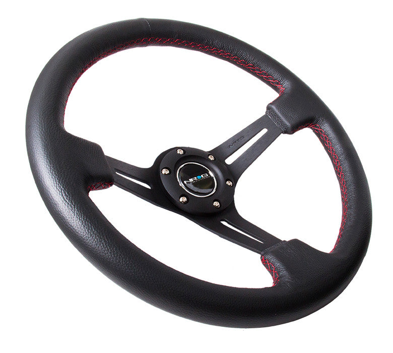 "NRG Deep Dish Series Steering Wheel (3"" Deep) Black Leather, Red Stitching (350mm)"