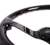 "NRG Deep Dish Series Steering Wheel (3"" Deep) Black Wood Grain, Black 3 Spoke Center (350mm)"
