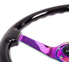 "NRG Deep Dish Series Steering Wheel (3"" Deep) Black Wood Grain, Neo Chrome 3 Spoke Center (350mm)"