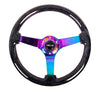 "NRG Deep Dish Series Steering Wheel (3"" Deep) Black Sparkled Wood Grain, Neo Chrome 3 Spoke Center (350mm)"