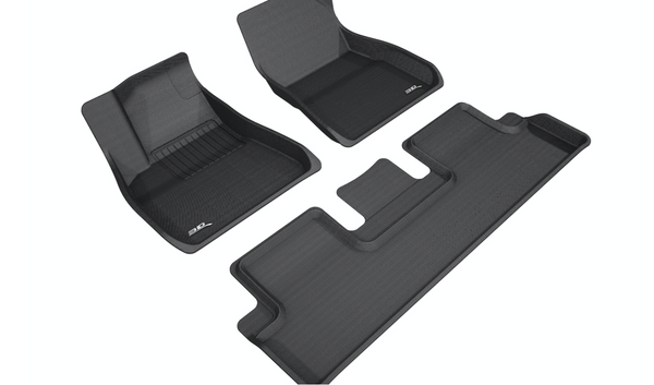 3D MAXpider Kagu All-Weather Custom Fit Floor Liner 2018–2019 Tesla Model 3 (Front & Rear)