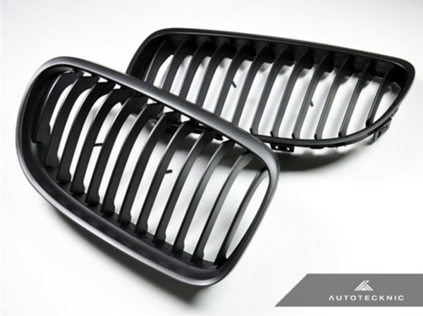 Autotecknic Replacement Stealth Black Front Grilles BMW E90 Sedan / E91 Wagon | 3 Series LCI