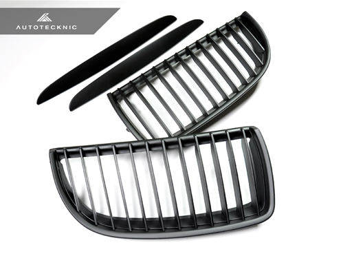 Autotecknic Replacement Stealth Black Front Grilles BMW E90 Sedan / E91 Wagon | 3 Series