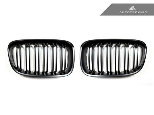 Autotecknic Replacement Dual-Slats Stealth Black Front Grilles BMW F20 1-Series