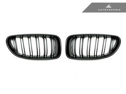 AutoTecknic Replacement Dual-Slats Stealth Black Front Grilles BMW F06 Gran Coupe / F12 Coupe / F13 Cabrio | 6 Series & M6