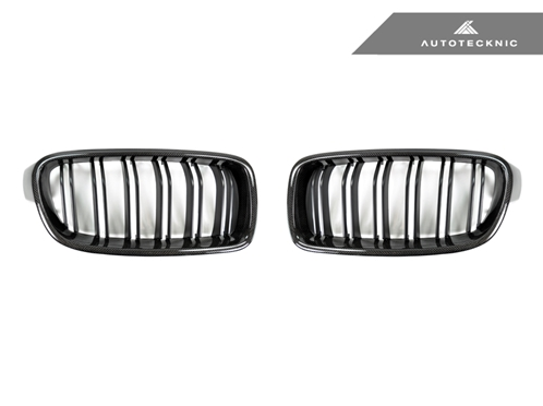 AutoTecknic Replacement Dual-Slats Carbon Fiber Front Grilles BMW F30 3-Series Sedan | F31 3-Series Wagon