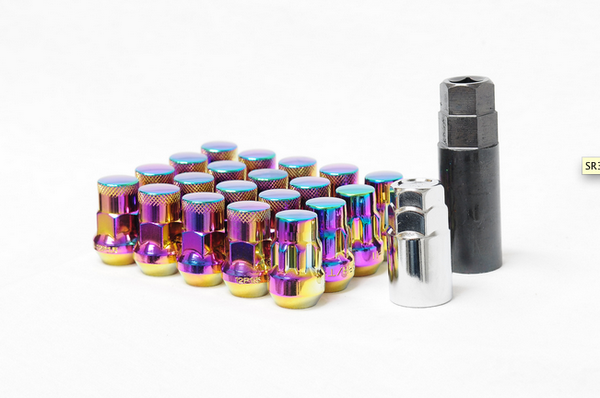 Muteki SR35 Closed End Lug Nut / Lock Set 12x1.50 Chrome Neon (20 Piece Kit) 35mm Tall