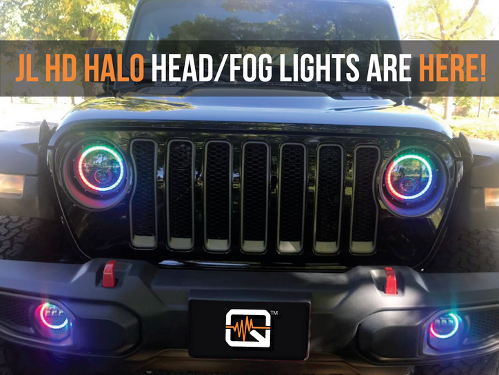 "2018 Jeep Wrangler JL 9"" Quake LED Tempest Series HD Headlights"