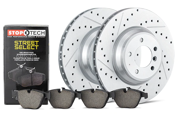 StopTech Select Sport Axle Pack Drilled & Slotted Rotors/ Street Select Brake Pads Toyota 4Runner, FJ Cruiser, Tacoma