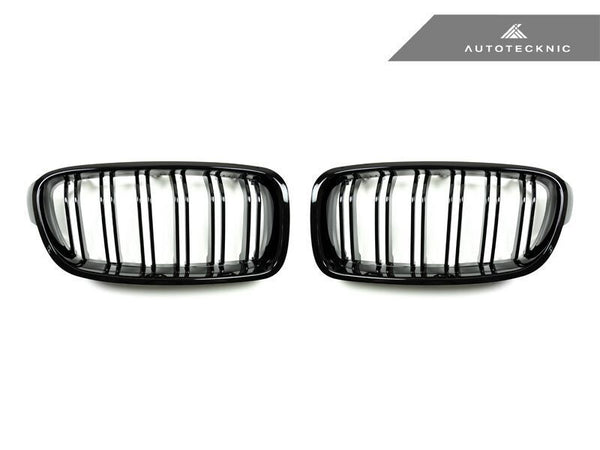 AutoTecknic Replacement Dual-Slats Glazing Black Front Grilles BMW F30 3-Series